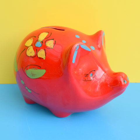 Vintage 1960s Pig Bertoncello Italian Ceramic Piggy Money Box - Red