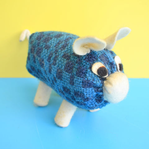 Vintage 1960s Kitsch Pig Toy - Welsh Tapestry Fabric - Blue
