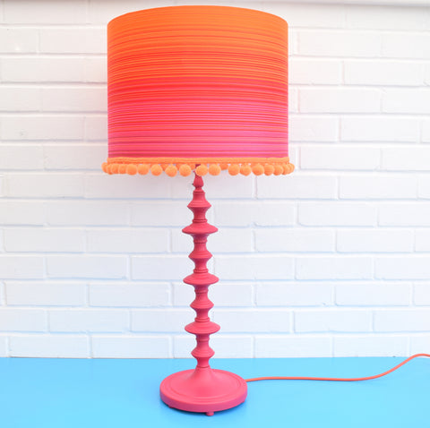 Vintage 1960s Metal Table Lamp & Shade - Orange & Pink With Bobble Trim