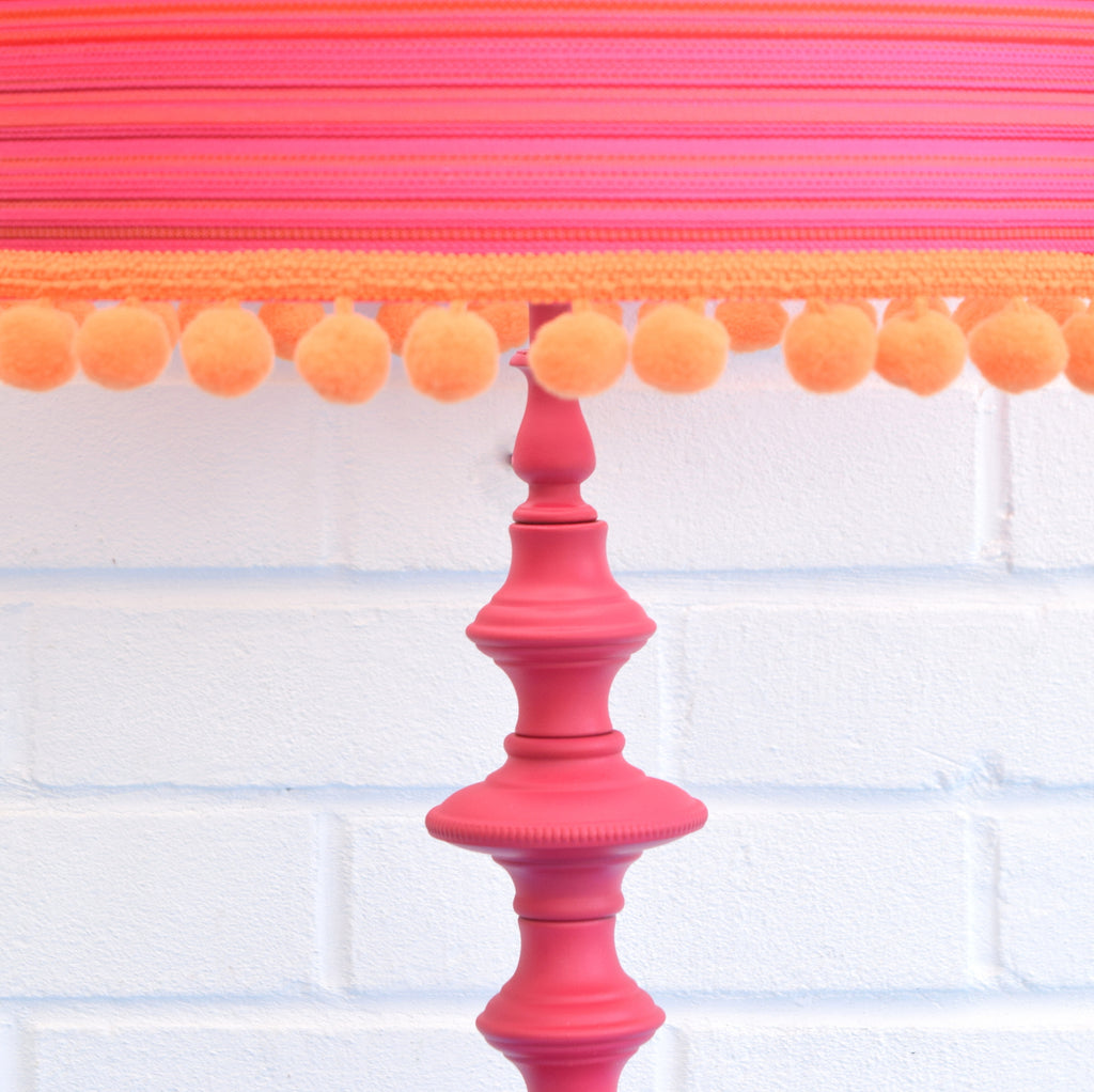 Vintage 1960s Metal Table Lamp Amp Shade Orange Amp Pink