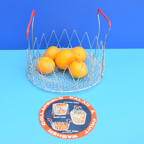 Vintage 1960s Wire Folding Basket / Fruit Bowl / Strainer / Salad