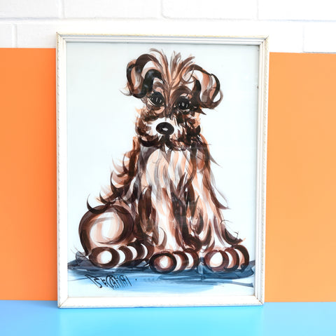 Vintage 1950s Beccafichi Reverse Glass Painting - Scruffy Dog