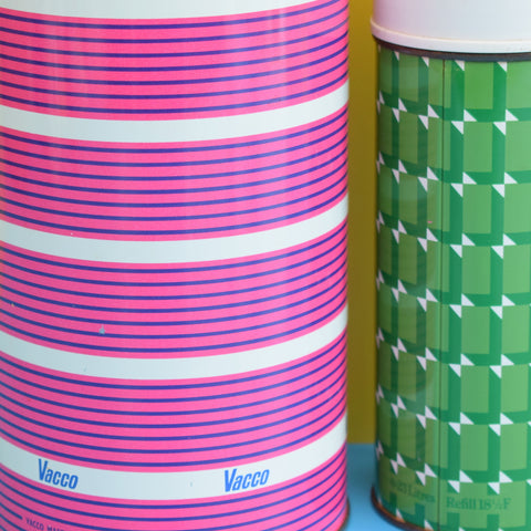 Vintage 1960s Thermos Flasks - Unusual Pink Stripe / Green Patterned
