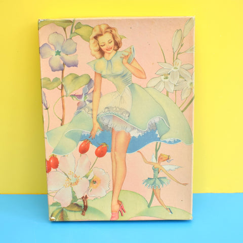 Vintage 1950s Stocking / Gift Box - Gorgeous Lady, Fairy & Flowers