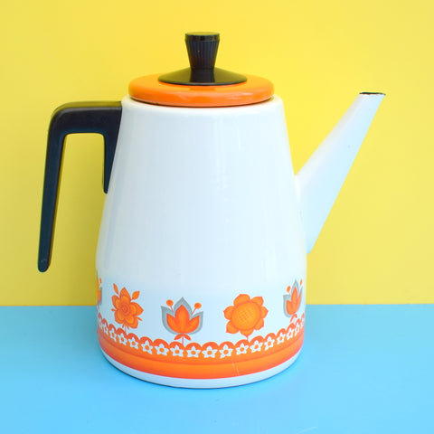 Vintage 1960s Enamel Coffee Pot - Worcester Ware Tudor Range - Orange & White