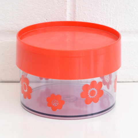 Vintage 1970s Plastic Containers Erik Kold Denmark - Flower power - Red, Orange, Yellow