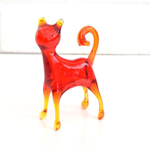 Vintage Italian Glass Cat Figure - Orange / Red