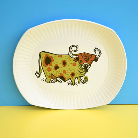 Vintage 1970s Beefeater Steak Plate - Brown Bull Design