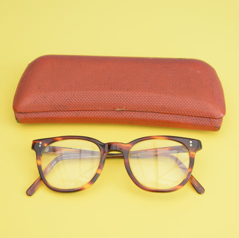 Vintage 1950s  Reading Glasses & Case - Tortoise Shell Effect Lucite Frames