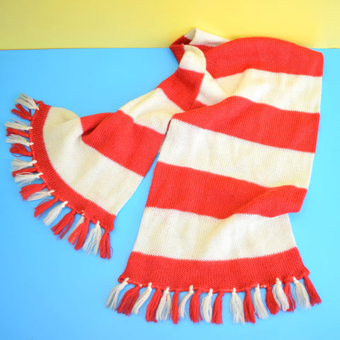 Vintage 1970s Striped Knitted Scarf - Football - Red & White