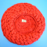 Vintage 1950s Knitted Wool Beret - Made In Italy - Red
