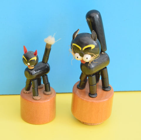 Vintage Wooden Cat Toys - Pop Up Black Kitten & Cat
