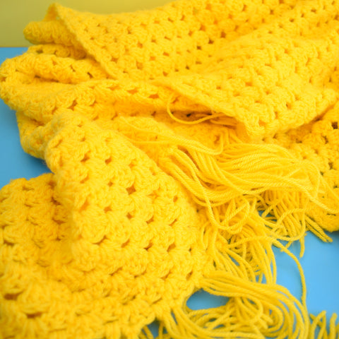 Vintage 1970s Crochet Tassel Shawl / Throw - Sunshine Yellow