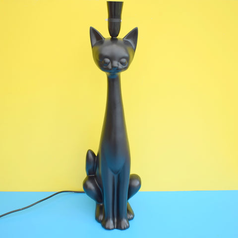 Vintage 1950s Very Large Ceramic, Tall Necked Cat Lamp - Black