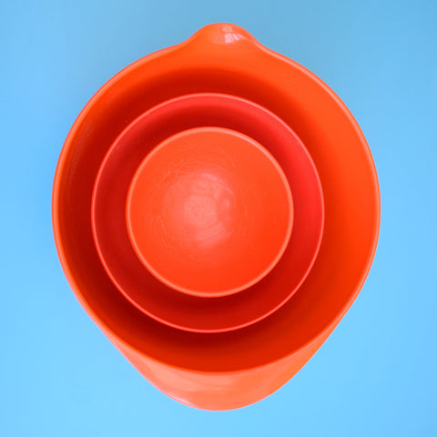 Vintage 1970s Rosti Plastic Bowls - Danish - Red / Blood Orange