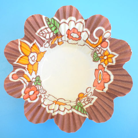 Vintage 1970s Paper Jelly / Pudding Disposable Dishes - Unused- Winfield (Woolworths) - Brown & Orange Flower Power