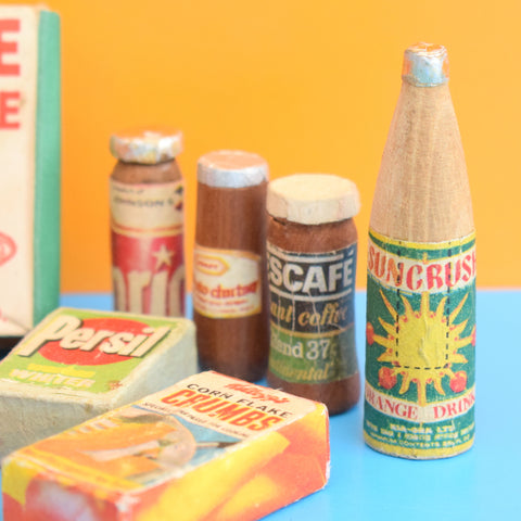 Vintage 1960s Wooden Toy Food Packets / Bottles - Homemade