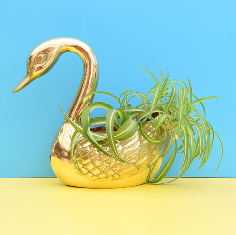 Vintage Brass Metal Swan Planter - Kitsch & Large