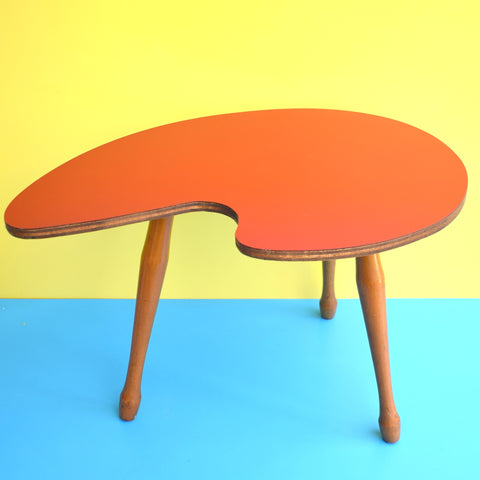 Vintage Formica Palette Side Table - Original Legs and Ruby Red Formica Top