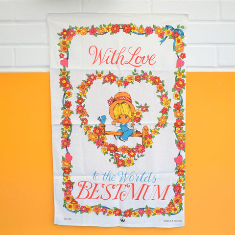Vintage 1960s Cotton Tea Towel - Mothers Day - Best Mum