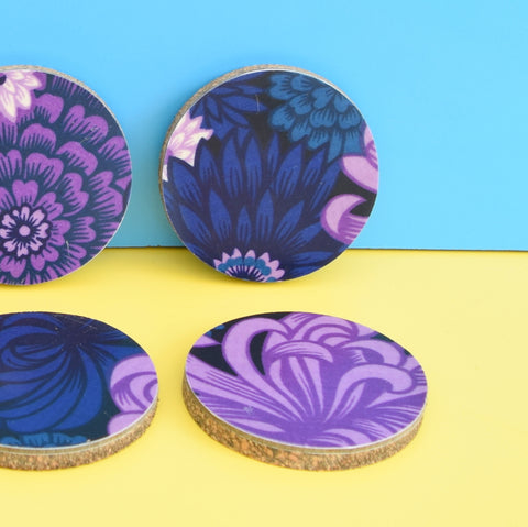 Vintage Unique Thetford / Cork Coasters Set of 6 - Flower Power - Purple