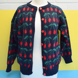 Vintage 1980s Cherry Print Cardigan - Apple Buttons - 100% Wool - Medium