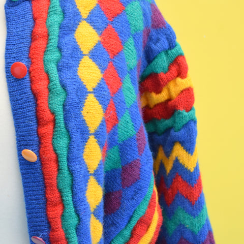 Vintage 1980s Brightly Coloured Cardigan - Jumpers - 100% Wool - One Size