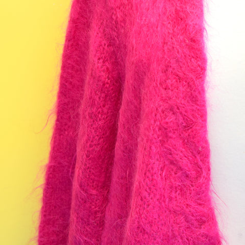 Vintage 1980s Mohair Fluffy Cardigan - One Size - Hot Pink