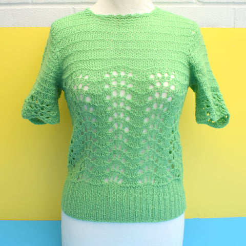 Vintage 1950s Knitted Jumper - Grass Green Size 12 ish