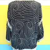 Vintage 1970s Beaded Evening Cardigan / Jacket - One Size - Black & Silver
