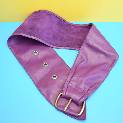 Vintage 1980s Wide Soft Leather Belt - Purple