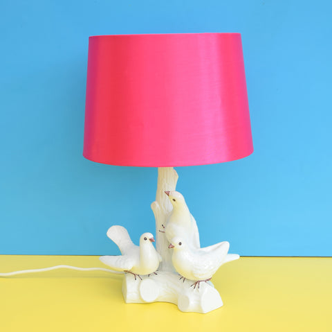 Vintage Ceramic Dove Lamp & Shade - Italian -  White & Pink