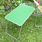 Vintage 1960s Folding Garden Chair & Table - Flower Power - Green & Orange