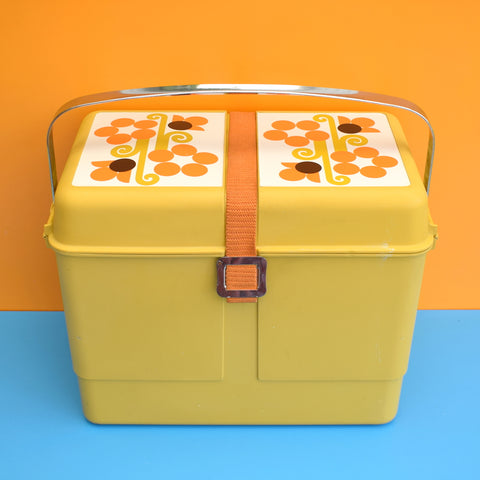 Vintage 1960s Cool Box - Ideal Camper Van - Mustard / Orange