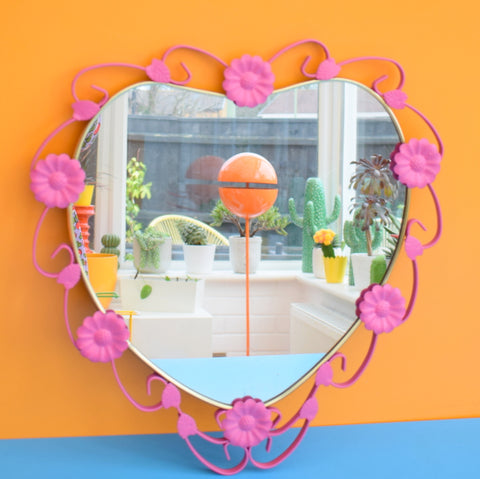 Vintage 1960s Heart Shaped Metal Mirror - Pink