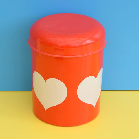 Vintage 1970s Plastic Tin - Heart Design - Denmark - ANM Design - Red & White