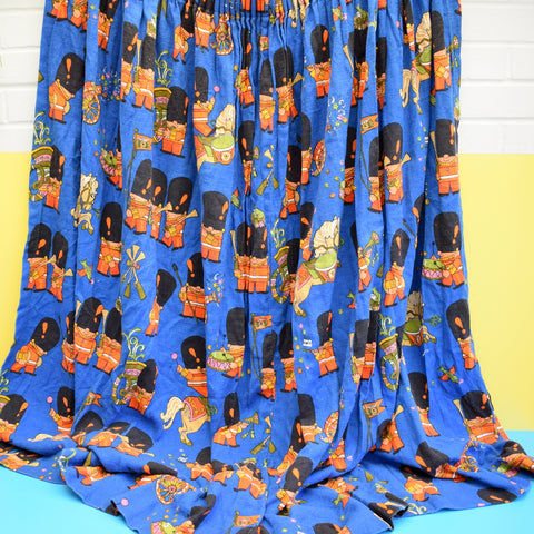 Vintage 1960s Curtains - Frieda Clowes Pop Parade Design - Blue