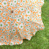 Vintage 1960s Folding Clip On Garden Parasol - Flower Power - Orange & Green