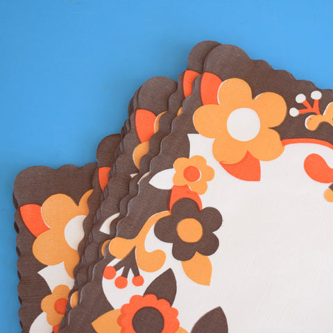 Vintage 1970s Disposable Placemats - Flower Power - Orange