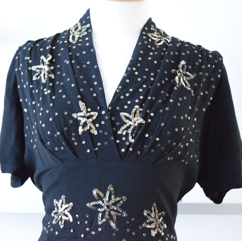 Vintage 1940s Crepe & Sequin Dress - Black size 12 ish