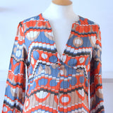 Vintage 1970s Maxi Dress - Brick Red & Blue- Geometric size 12 -14 ish