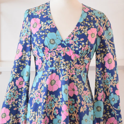 Vintage 1960s Cotton Fit & Flare Mini Dress - Blue & Pink sz 12 ish