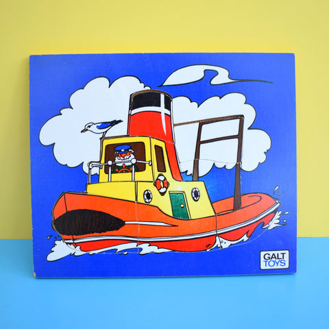 Vintage 1970s Wooden Jigsaw Puzzle - by Galt - Boat - Blue