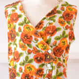 Vintage 1960s Towelling Bathing Robe / Cover Up - Orange - Flower Power Size 14 ish