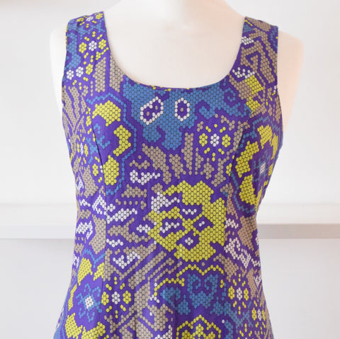 Vintage 1960s Tricel Midi Dress - Blue, Purple, Lime & Taupe size 14 ish