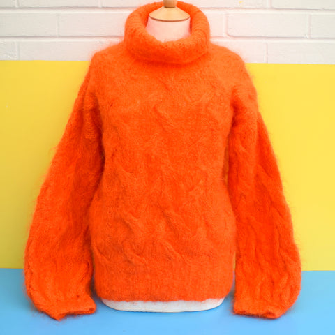 Vintage 1980s Handmade Mohair Fluffy 'Muppet' Jumper - One Size - Bright Orange