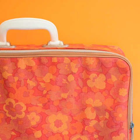 Vintage 1960s Vinyl Suitcase - Flower Power - Orange