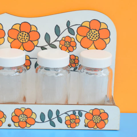 Vintage 1960s Taunton Vale Spice Set - Flower Design - Orange
