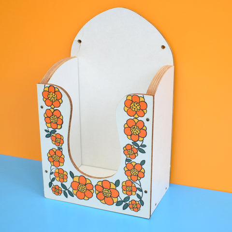 Vintage 1960s Taunton Vale Napkin Holder - Flower Design - Orange