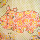 Vintage 1960s Single Flat Sheet - flower Power Animal Print - American